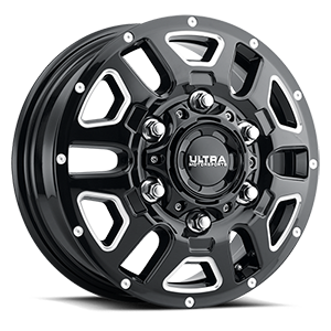 003 AWD Transit Van Wheel 6 Gloss Black with Milled Accents and Clear Coat